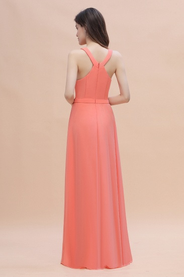 BMbridal Simple Jewel Sleeveless Coral Chiffon Bridesmaid Dress Online_3