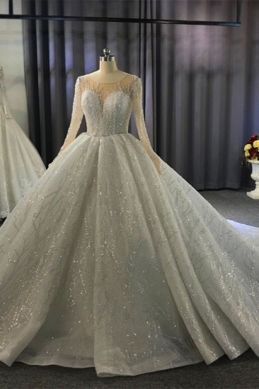 BMbridal Glamorous Ball Gown Tulle Jewel Wedding Dress Long Sleeves Ruffles Beadings Sequined Bridal Gowns Online_9