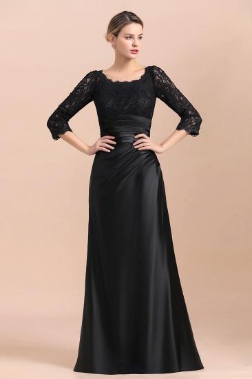 BMbridal Elegant Jewel 3/4 Sleeves Black Satin Lace Ruffles Mother of Bride Dress On Sale_4