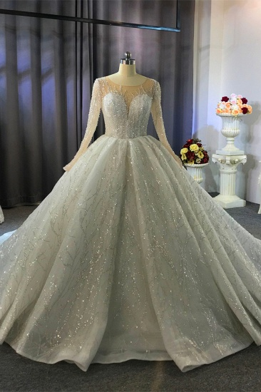 BMbridal Glamorous Ball Gown Tulle Jewel Wedding Dress Long Sleeves Ruffles Beadings Sequined Bridal Gowns Online_8