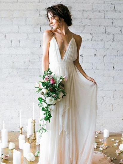 Elegant V-Neck Chiffon Wedding Dress Long Spaghetti-Straps Beach Bridal Gowns