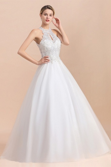 BMbridal Exquisite High-Neck Lace Wedding Dress Appliques Sequins Sleeveless Bridal Gowns On Sale_6
