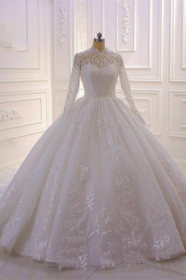 Luxury Ball Gown High Neck Tull Lace Wedding Dress Long Sleeves Appliques Sequins Bridal Gowns Online