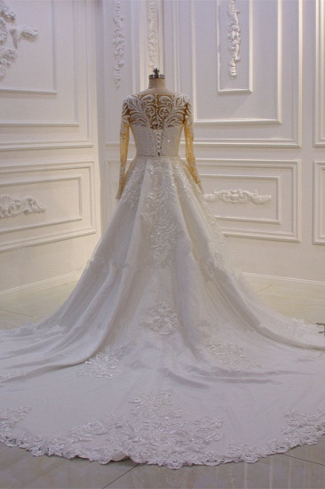 Glamorous Jewel Long Sleeves Wedding Dress Tulle Lace Bedaings Bridal Gowns Online_3