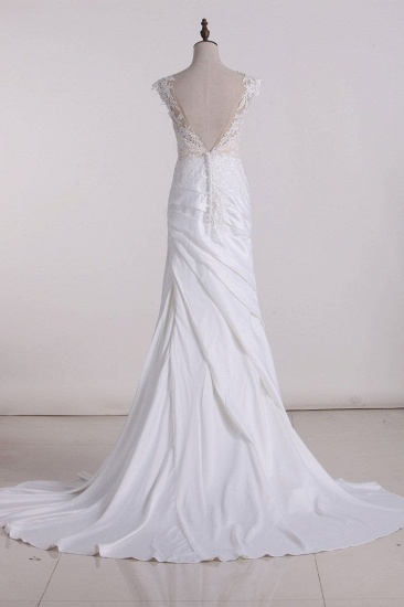BMbridal Chic Jewel Tulle White Satin Wedding Dress Lace Appliques Ruffles Sleeveless Bridal Gowns On Sale_3