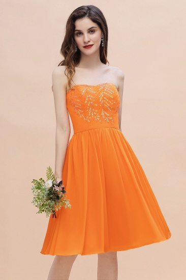 BMbridal Pretty Strapless Sweetheart Chiffon Sequins Short Bridesmaid Dress with Ruffles_1