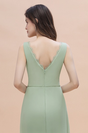 BMbridal Sexy Chiffon Ruffles Dusty Sage Bridesmaid Dress with Lace Edge On Sale_9