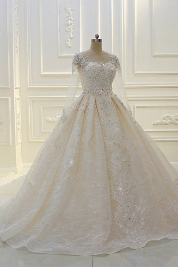 BMbridal Luxury Ball Gown Jewel Tulle Wedding  Dress Long Sleeves Lace Applqiues Beadings Bridal Gowns On Sale_4
