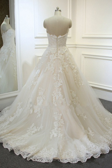 Chic Strapless Tulle Lace Wedding Dress A-Line Sweetheart Appliques Sleeveless Bridal Gowns On Sale_4