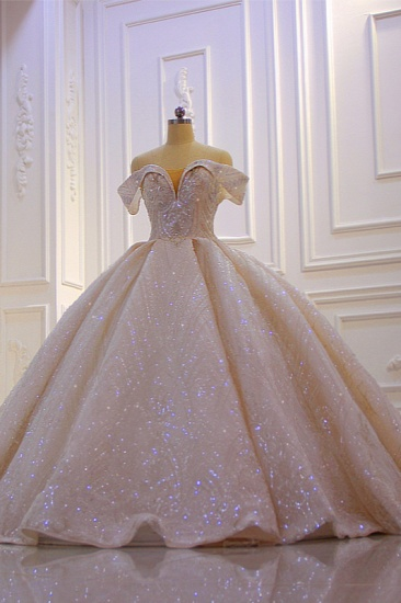 Luxury Ball Gown Off-the-Shoulder Wedding Dress Tulle Sequined Beadings Sleeveless Bridal Gowns Online