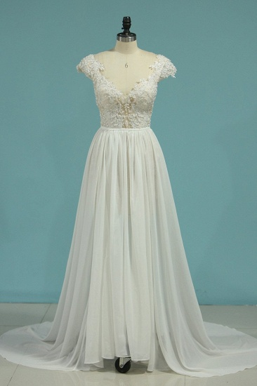 Simple Chiffon Ruffles Lace Wedding Dress Appliques Cap Sleeves V-neck Beadings Bridal Gowns On Sale