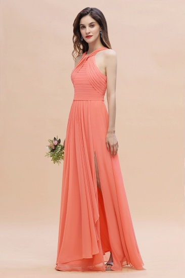 BMbridal Gorgeous A-Line Sleeveless Coral Chiffon Bridesmaid Dress with Ruffles On Sale_6