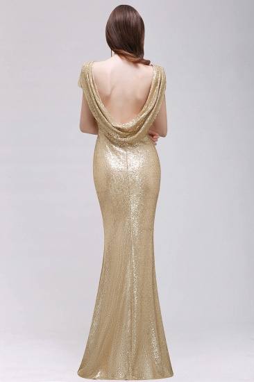 BMbridal Sparkly Sequined Jewel Sheath Prom Dress with Short Sleeves and Draped Back_8