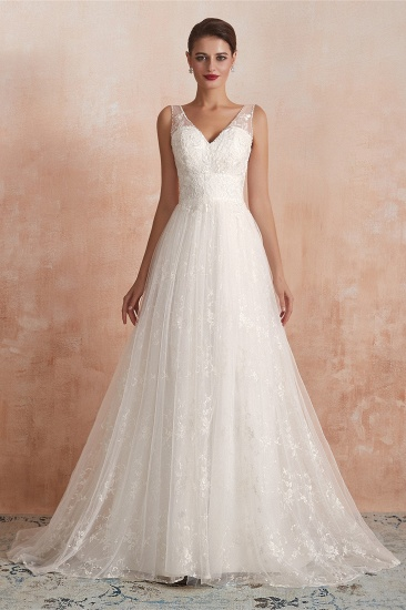 BMbridal Affordable V-Neck Tulle Lace Long White Wedding Dresses Online_2
