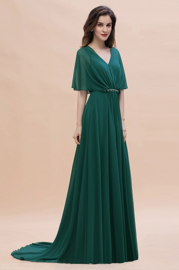 BMbridal Gorgeous V-Neck Chiffon Ruffles Beading Bridesmaid Dress with Half Sleeves_7