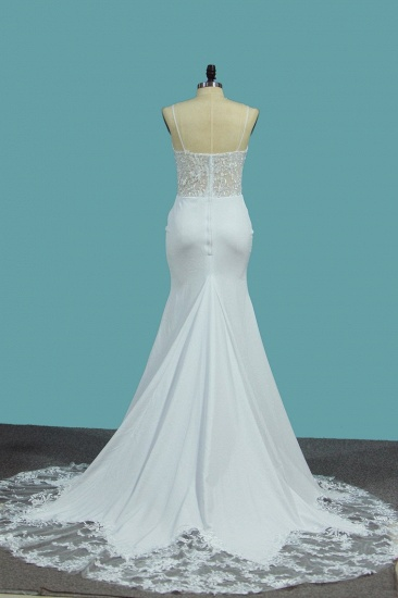 BMbridal Sexy Spaghetti Straps Satin Wedding Dress Mermaid Lace Applqiues Bridal Gowns On Sale_3