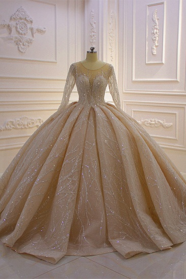 Glamorous Ball Gown Tulle Jewel Wedding Dress Long Sleeves Ruffles Beadings Sequined Bridal Gowns Online