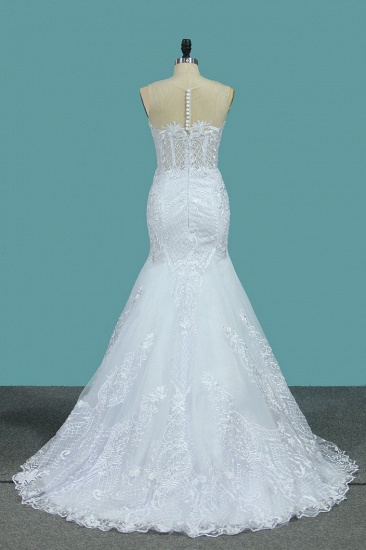 BMbridal stylish Jewel Sleeveless White Tulle Wedding Dress Mermaid Appliques Bridal Gowns with Wraps Online_3