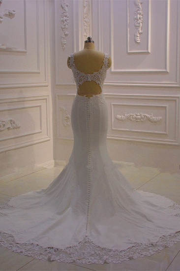 BMbridal Simple Mermaid Tulle Wedding Dress Straps Sleeveless V-Neck Bridal Gowns On Sale_3