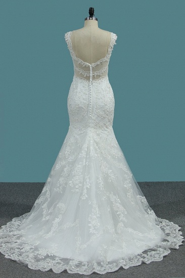 Elegant Mermaid V-neck Tulle Wedding Dress White Lace Appliques Beadings Bridal Gowns Online_3