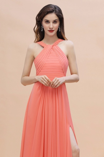 BMbridal Gorgeous A-Line Sleeveless Coral Chiffon Bridesmaid Dress with Ruffles On Sale_9
