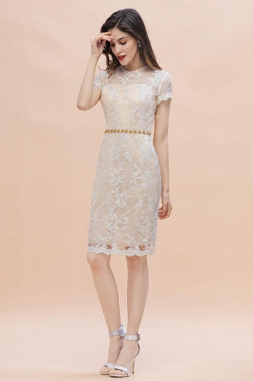 BMbridal Chic Jewel Tulle Lace Beadings Mother of Bride Dress with Short Sleeves Online_5