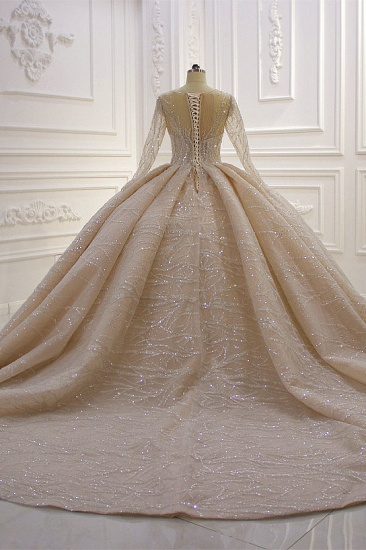 BMbridal Glamorous Ball Gown Tulle Jewel Wedding Dress Long Sleeves Ruffles Beadings Sequined Bridal Gowns Online_3