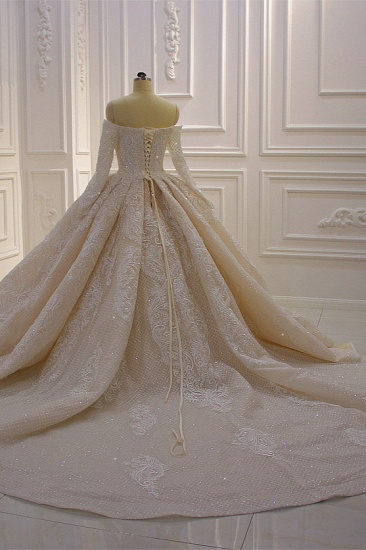BMbridal Gorgeous Ball Gown Strapless Sequins Wedding Dress Long Sleeves Tulle Lace Bridal Gowns On Sale_5