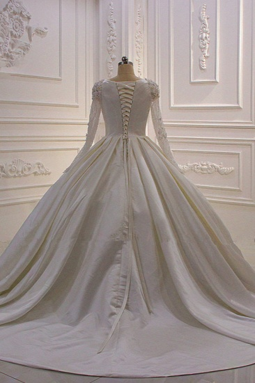 BMbridal Ball Gown Satin Long Sleeves Wedding dress Jewel Ruffles Flowers Bedaings Bridal Gowns On sale_3