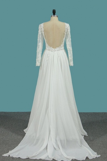 Elegant Jewel Long Sleeves Wedding Dress Chiffon Tulle Lace Ruffles Bridal Gowns Online_3