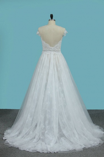 BMbridal Chic Jewel Sleeveless Tulle Wedding Dress Lace Appliques Ruffles Bridal Gowns On Sale_3