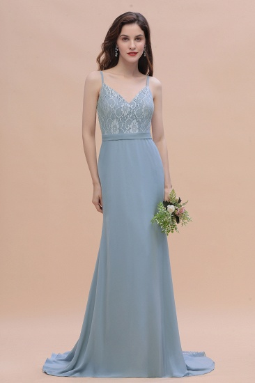 BMbridal Elegant Mermaid Chiffon Lace Dusty Blue Bridesmaid Dress with Spaghetti Straps On Sale_4