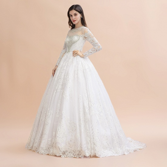 BMbridal Glamorous Jewel Tulle Lace Wedding Dress Long Sleeves Appliques Beadings Bridal Gowns Online_5