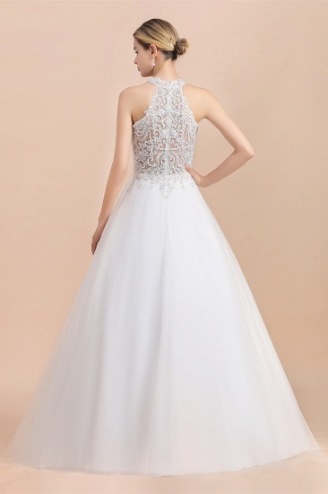BMbridal Exquisite High-Neck Lace Wedding Dress Appliques Sequins Sleeveless Bridal Gowns On Sale_3
