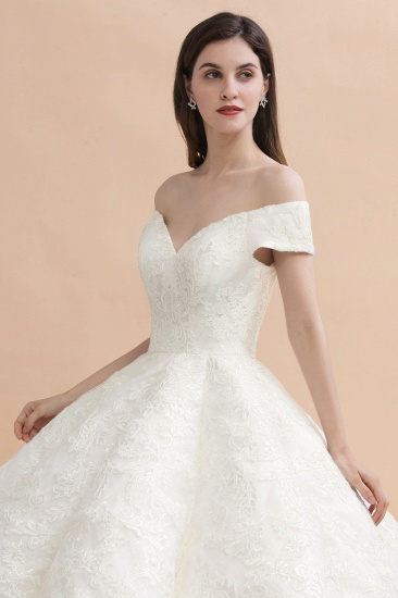 BMbridal Luxury Ball Gown Off-the-Shoulder Sweetheart Wedding Dress Sleeveless Lace Satin Bridal Gowns On Sale_4