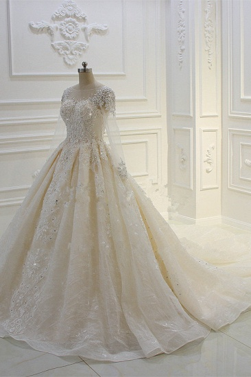BMbridal Luxury Ball Gown Jewel Tulle Wedding  Dress Long Sleeves Lace Applqiues Beadings Bridal Gowns On Sale_5