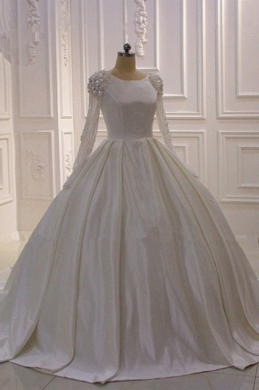 BMbridal Ball Gown Satin Long Sleeves Wedding dress Jewel Ruffles Flowers Bedaings Bridal Gowns On sale_4