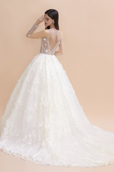 Luxury Ball Gown Tulle Lace Wedding Dress Long Sleeves Appliques Pearls Bridal Gowns with Flowers On Sale_3