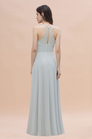 Simple Straps A-line Chiffon Mist Bridesmaid Dress with Ruffles Online_3