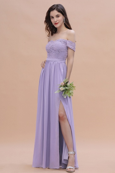 BMbridal Sexy Off-the-Shoulder Lace Chiffon Ruffles Bridesmaid Dress with Slit On Sale_7