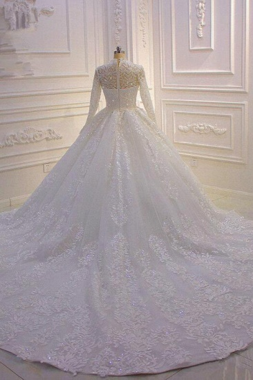 BMbridal Luxury Ball Gown High Neck Tull Lace Wedding Dress Long Sleeves Appliques Sequins Bridal Gowns Online_3