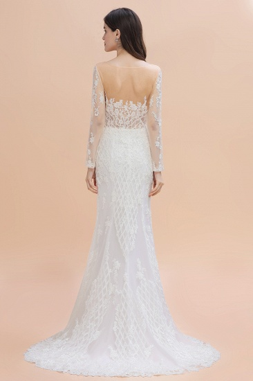 BMbridal Gorgeous Jewel Tulle Lace Wedding Dress Long Sleeves Appliques Mermaid Bridal Gowns On Sale_3