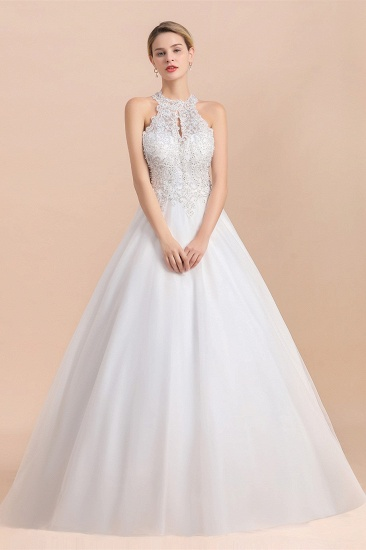 BMbridal Exquisite High-Neck Lace Wedding Dress Appliques Sequins Sleeveless Bridal Gowns On Sale_4