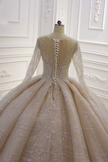 BMbridal Glamorous Ball Gown Tulle Jewel Wedding Dress Long Sleeves Ruffles Beadings Sequined Bridal Gowns Online_7