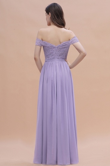 BMbridal Sexy Off-the-Shoulder Lace Chiffon Ruffles Bridesmaid Dress with Slit On Sale_3