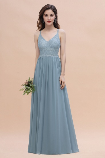 Stylish Straps V-Neck Chiffon Lace Dusty Blue Bridesmaid Dress On Sale
