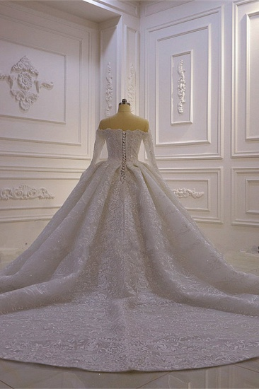 BMbridal Luxury Ball Gown Long Sleeves Wedding Dress Tulle Lace Sweetheart Beadings Bridal Gowns On Sale_3