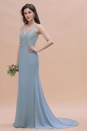 BMbridal Elegant Mermaid Chiffon Lace Dusty Blue Bridesmaid Dress with Spaghetti Straps On Sale_7
