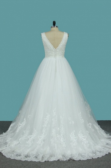 Gorgeous A-Line Tulle Wedding Dress Sleeveless Lace Pearls Bridal Gowns On Sale_3