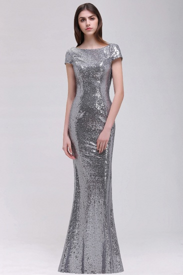 BMbridal Sparkly Sequined Jewel Sheath Prom Dress with Short Sleeves and Draped Back_6